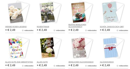Auswahl von Grußkarten bei Blume2000. Florachecker