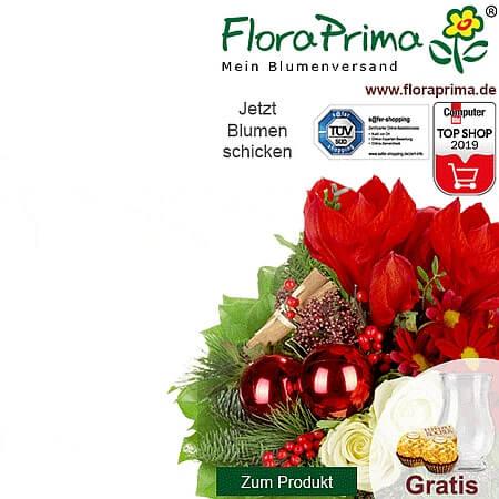Ein Blumenstrauss von Floraprima im Bild mit diversen Qualitätssiegeln